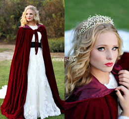 Wholesale Velvet Shawls - Vintage Burgundy Velvet Snow Winter Wedding Bridal Cloak 2015 Sleeveless Floor Length Cheap Bridal Wrap Cape Shawl for Bride Custom Made