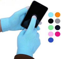 Wholesale Colorful Cotton Gloves - Christmas Colorful Touch Gloves Winter warm touch glove Cotton capacitive screen conductive gloves for iphone 6 6S plus S6 note 5 ipad air