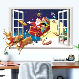 Wholesale Merry Chirstmas - Hot Merry Christmas decorations wall stickers Santa Claus render 3D effects fake window wallpaper party gift