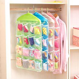 Wholesale Grid 16 - 16 Grid Pocket Bag Underwear Bras Socks Ties Shoes Cosmetic Storage Bag Hanging Bags Closet Clothing Organizer Clear Tote Bag