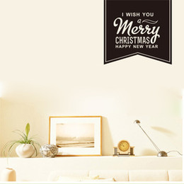 Wholesale Decal Transfer Paper - I wish you Merry Christmas Happy New Year---Saying Black PVC Transfer wall stickers Home decor Wall paper decal
