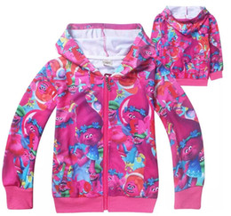 Wholesale Cute Red Winter Coats - cute kids hoodie sweatshirt coat causal anime cartoon trolls hoodie for 4-12yrs children boys girls outerwear clothes