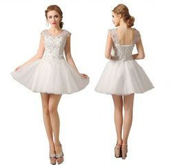 Wholesale Luxury Line Beaded Crystals - Cheap Homecoming Dresses Jewel Cap Sleeves Crystal Beaded A-Line Prom Dresses Mini Short Luxury White Cocktail Gowns With Tiers