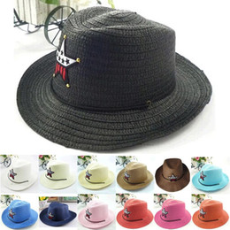 Wholesale Wholesale Straw Hats For Kids - 2015 Baby Sun Hats Straw Sunhats for Kids Children Large Wide Brim Beach Hat Cap Baby boys girls Summer Hats