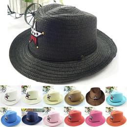 Wholesale Baby Boy Brim Hats - 2015 Baby Sun Hats Straw Sunhats for Kids Children Large Wide Brim Beach Hat Cap Baby boys girls Summer Hats