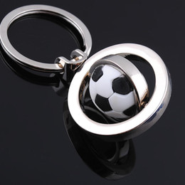 Wholesale Wholesale Football Key Chain - New keychain charm Europe and geometric simplicity electroplating zinc alloy key chain polished basketball football Golf rotation key ring