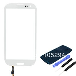 Wholesale S3 Glass Cable - Wholesale-For Samsung Galaxy S3 SIII GT-i9300 i9300 Outer Touch Glass Screen Lens Replacement With Sensor Flex Cable+Free Open Tools White