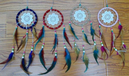 Wholesale Birthday Room Decorations - free shipping 12pcs lot in mixed colors 11cm DIA Dream Catcher Decor Car Decor Home Decorations Birthday Party Holiday Gift Lover Gift