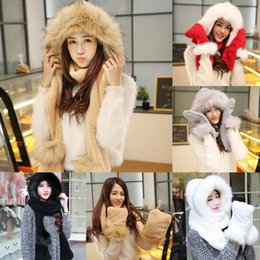 Wholesale Hat Gloves Mittens - Wholesale-Hot Fashion Women Lady Winter Warm Long Fleece Faux Fur Hat Cap Scarf Gloves Mitten Snood Hood