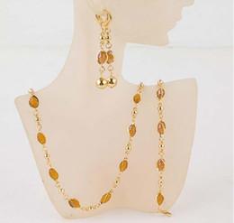 Wholesale Gold Lemon - Fashion New Women's 18k Gold Filled Austrian Crystal Necklace Bracelet Earrings Wedding Bride Jewelry Sets Gift
