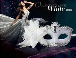Wholesale Snow White Adult Cartoon - Popular Snow White Mask Halloween costume party mask for Christmas carnival halloween masquerade dance Venice mask side feather flower masks