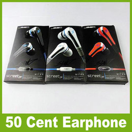 Wholesale Earbuds Mini Sms - DHL 50 Cent SMS audio 50 mini cent in-earphone headphone Earbuds with Microphone STREET by 50 CENT with retail pack for iphone Samsung JF-A6