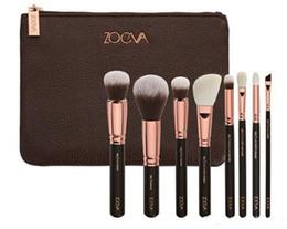 Wholesale Blend Powder - HOT ZOV 8Pcs Makeup Brushes kits Professional blending Eyeline Eyeshadow Brush Set Foundation Powder Beauty Cosmetic Tools + bag free ship