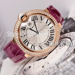 Wholesale New Design Complete Dresses - Elegant Luxury Quartz Watch Men Women Classic Hour Brand Rose Gold Rhinestone Dial Design Purple Leather Strap Dress Clock Top Quality 5458
