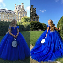 Wholesale Kids Special Occasion Dresses - Royal Blue Off The Shoulder Cinderella Flower Girl Dresses For Weddings Crystals Kids Ball Gowns Special Occasion Pageant Communion Dress