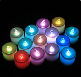 Wholesale Tealight Party Lamps - 960pcs Free DHL Beautiful Design Led 7 Color Change Flickering Flameless Light Tealight Candles Wedding Party Decoration Christmas Lamp