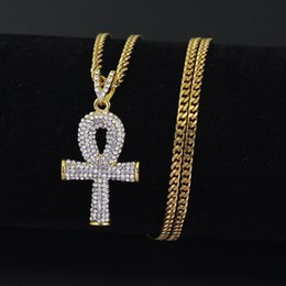 Wholesale Bling Cross Jewelry - 2 Colors 3mm 24inch Stainless Steel Cuban Chain Hip Hop Bling Iced Out Jewelry Egyptian cross Key Pendant Necklace N650