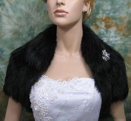 Wholesale White Fur Short Wedding Capes - New Decent Black Faux Fur Short Sleeves Bridal Bolero Shawl Coats Soft Warmer Shrug Cape Wrap Wedding Jacket Accessories