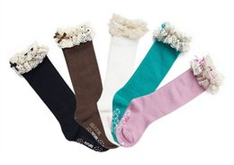 Wholesale High Top Cotton Socks Wholesale - 2016 baby girl lace top socks kids Stockings classic knee BOOT high socks with lace solid color cotton socks 5color choose