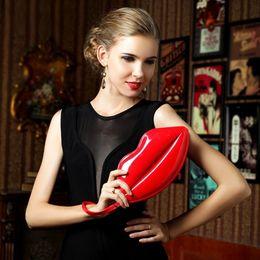 Wholesale Sexy Ladies Wallets - Ladies Sexy Red Lips Purses Wristlet Clutch Bag Female Shouder Bags Sleek Women Handbags Kiss Wallet Free Shipping Wholesale