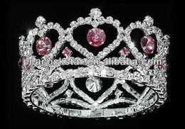 Couronne tout autour en Ligne-Gros-gros fleur fille / bébé coeur cristal Full Circle ronde rose Mini Couronne Tiara CT1777