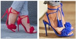 Wholesale Red Prom Shoes - Genuine leather Brand AQUAZZURA Tassel Fringe Suede Women Sandals Lace Up Ankle Strappy High Heels Prom Wedding Shoes Woman Sandals Mujer