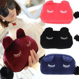 Wholesale Cute Pen Brands - Brand New Women Comestic Bags 2015 Cute Cartoon Cat Women Bag Cosmetic Cases Pen Pencil Pouch Cases Makeup Bag Free Shipping