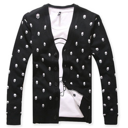 Wholesale Skull Sweater For Men - Wholesale-Mens Skulls Cardigan Sweaters 2016 Knitted V Neck Hombre Sweater Brand Black Masculino Casual Sweater Cardigans Knitwear For Men