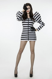 Wholesale Gangster Cosplay Costumes - 2017 New Convict Dress Black And White Stripes Zipper Uniform Temptation Sexy Cosplay Halloween Costumes Club Performance Clothing Hot Sale
