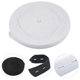 costurando elástico preto Desconto 10 M Botão Buraco De Malha Fita Elástica DIY Acessórios de Costura 20mm Branco E Preto Pode Escolher