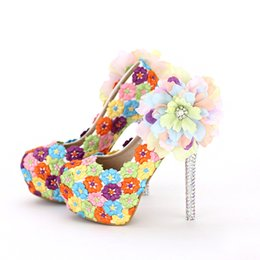 Wholesale Dinner Shoes - Colorful Lace Floral High Heels Beautiful Formal Dress Shoes Thin Heel Wedding Bridal Shoes Appliqued Dinner Party Prom Pumps