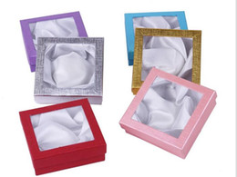 Wholesale Wholesale Watches Case - 12PCS Jewelry Charm Bracelet Bracelet Watch Gift Boxes Cases Display Box 85x85x25mm multiple Colors Shipped Randomly