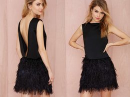Wholesale Cheap Formal Dresses Feathers - Black Short Cocktail Dresses Jewel Neck Feather Hollow Back Sheath Prom Gowns Cheap Spring Mini Formal Party Evening Dress