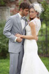 Wholesale Tux Button Vest - Custom-made - suits tux groom tuxedos cheap bridegroom morning men's blazers wedding suit for men grey navy white(Jacket+Pants+Vest)