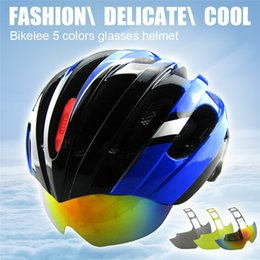 Wholesale Road Covers - Ultralight Cycling Helmet Glasses Cover MTB Road Bike Helmet 27 Air Vents Bike Bicycle Helmets Goggles 3 Lens Ciclismo Casco 5Colors