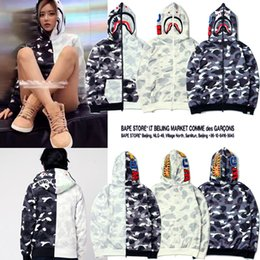 Wholesale Thick White Women Sweater - Winter New Tide Brand Camouflage Embroidery Shark Mouth Print Ccotton Men Women Loose Hoodie Sweater Fleece Cardigan Sweatshirt Tops