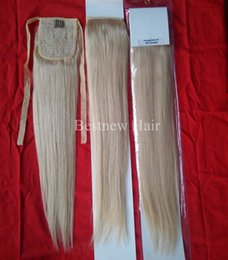 "Wholesale 18 Blonde Ponytail - Hot Sale Brazilian Human Hair Ponytail Extensions Remy Hair Straight Weave Bundles #613 bleach blond 100g set 16"" -26"" ponytail extensions"