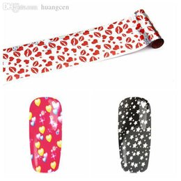 Wholesale Lip Stickers For Nails - Wholesale-22 Designs 100cm*4cm Sticker & Decal Transfer Foil Nail Stickers Lips Flowers Stripes DIY Decorations For Nails Art Tools
