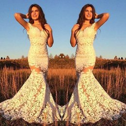 Wholesale Tank Bandage Backless Dress - 2017 new arrival lace appliques mermaid evening dresses sweetheart tank sleeveless party gowns with court train