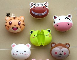 Wholesale Wholesale Small Cup Holder - Cute cartoon cartoon toothbrush toothbrush holder small animal shaped toothbrush hanging cup type plastic frame 5 set free postage