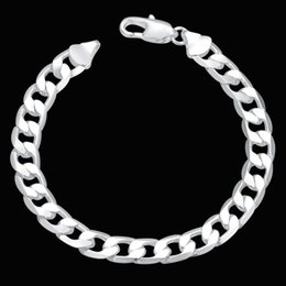 Wholesale Silver Chain 925 6mm - Hot Sale 925 Silver Plated Jewelry 6MM 8MM 10MM 12MM Flat Curb Chain Bracelet Men's Bracelet Jewelry FREE DHL