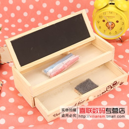 Wholesale Korea Diy Box - Wholesale-Delicate pencil case multifunctional wooden diy small blackboard drawer pencil box korea stationery box