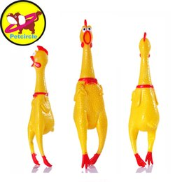 Wholesale chicken cat - petcircle funny Dog Toys Rooster Crows Attract Puppy Dog and Cat Pet Squeak Toys Screaming Rubber Chicken size S-L freeshipping