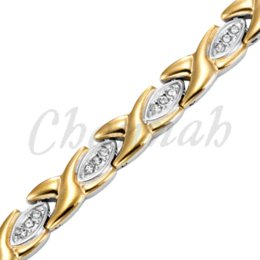 Wholesale Ionic Bracelets - 2-Tone Silver 18K Gold Ionic Plating Magnetic Health Ladies Bracelet with 39pcs Crystals Free Shipping Bangle via Hong Kong Post