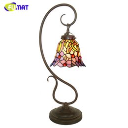 Wholesale Art Glass Table Lamps - FUMAT Stained Glass Table Lamp Creative Art Glass Orchid Shade Lamp Living Room Bedside Lamps Book Store Bar Table Lights