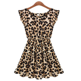 Wholesale Sexy Girls Mini Clothes - Summer Dresses S-XXL Vestido Plus Size Leopard Fashion Print Slim Beach Dress Girl Club Sexy Knee Vestidos Women Clothing S072