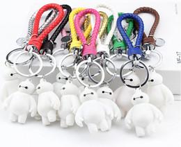 Wholesale Cartoon Handmade Keychain - New arrival Beast corps white braided rope keychain doraemon handmade leather cord cartoon car accessories Lovers keychain QLK166