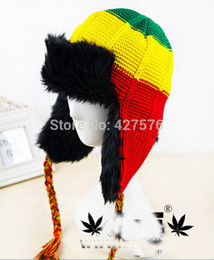 Wholesale Reggae Caps - Wholesale-FREE SHIPPING winter baseball caps with fur Adult reggae hat hip-hop rasta knitted cap jamaica caps