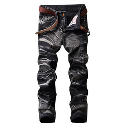 Wholesale black jeans men bootcut - Wholesale- 2017 High Quality Brand Mens Baggy Loose Black Jeans With Pockets Jeans Straight Denim Cargo Pants Biker Jeans Homme Size 29-42