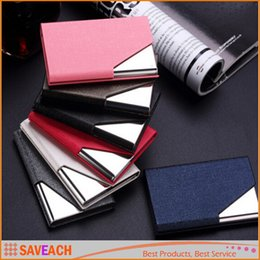 Wholesale Passport Cover Pink - Luruxy PU Leather Business Credit Name Id Card Holder Case Wallet Credit Card Holder Leather Bag Passport Cover Card Holder